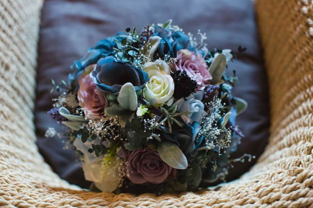 silk, faux flowers, wedding bouquet