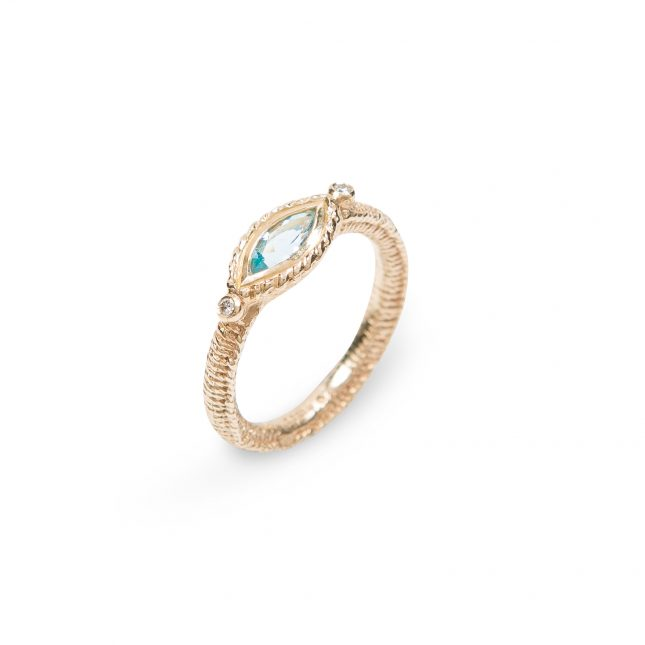 Marquise Stitch Ring in gold: aquamarine and diamonds