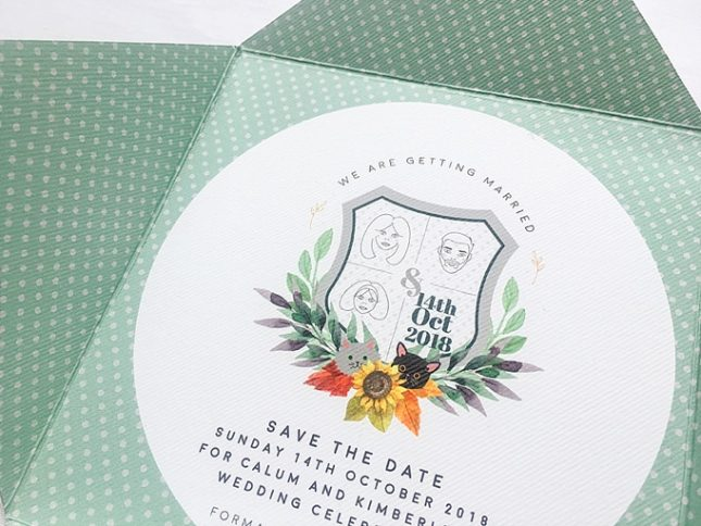 design led wedding stationery