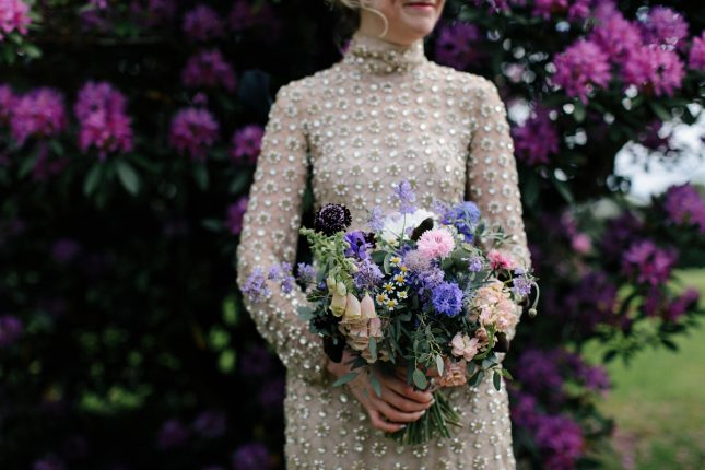 Gold Temperley wedding dress bouquet