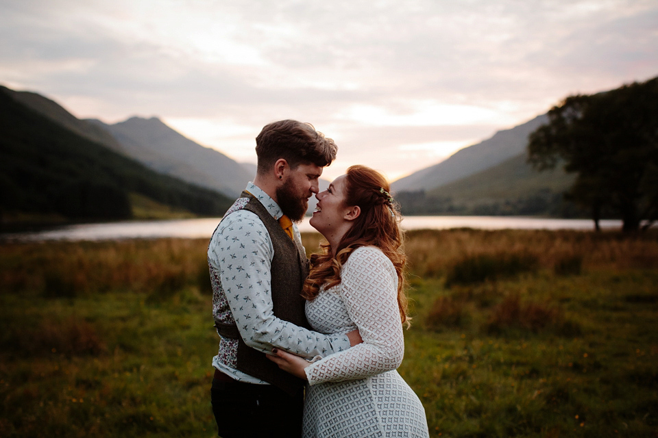 bohemian wedding in Scotland hillside