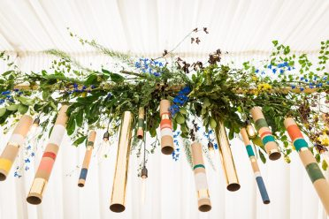 boho wedding wild floral cow shed crail