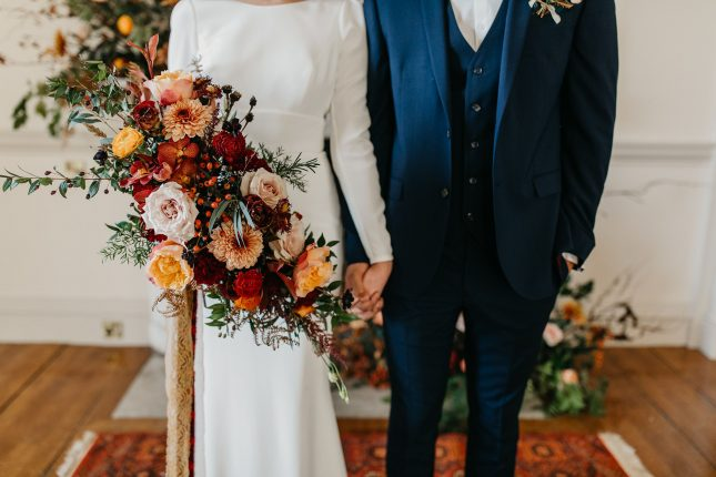 autumnal wedding bouquet filled with roses