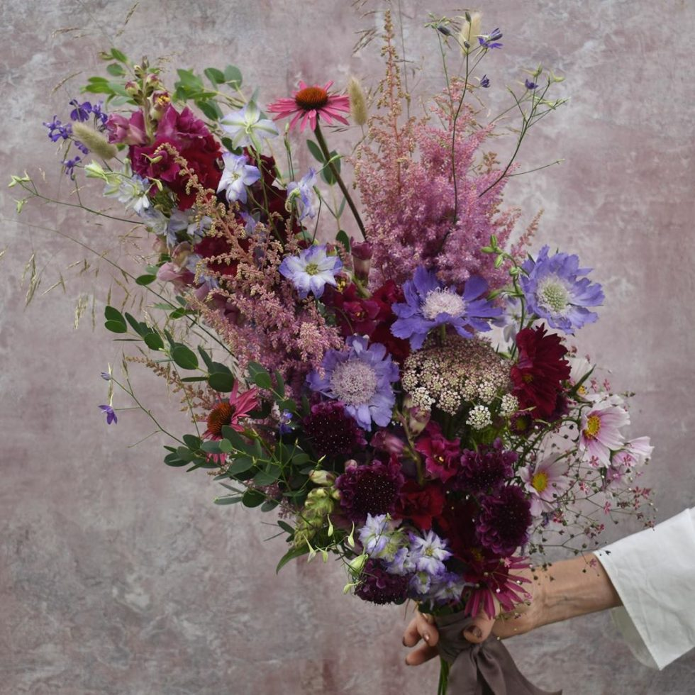 purple wedding bouquet UK wedding florist