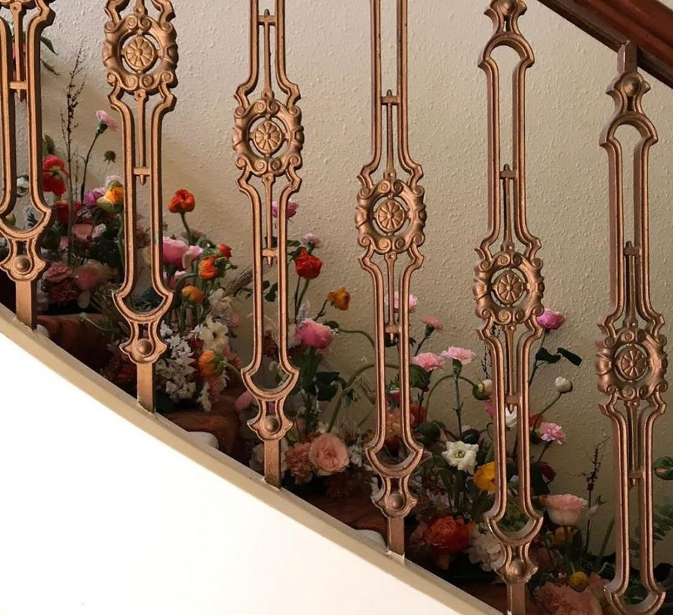 floral installation staircase