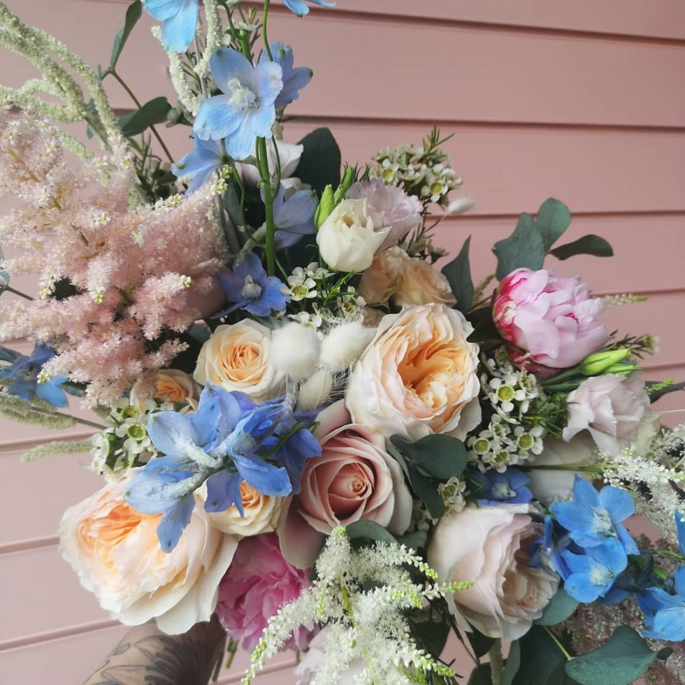 pastel coloured wedding bouquet