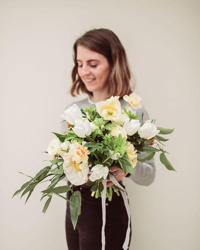 cream coloured big floral bouquet