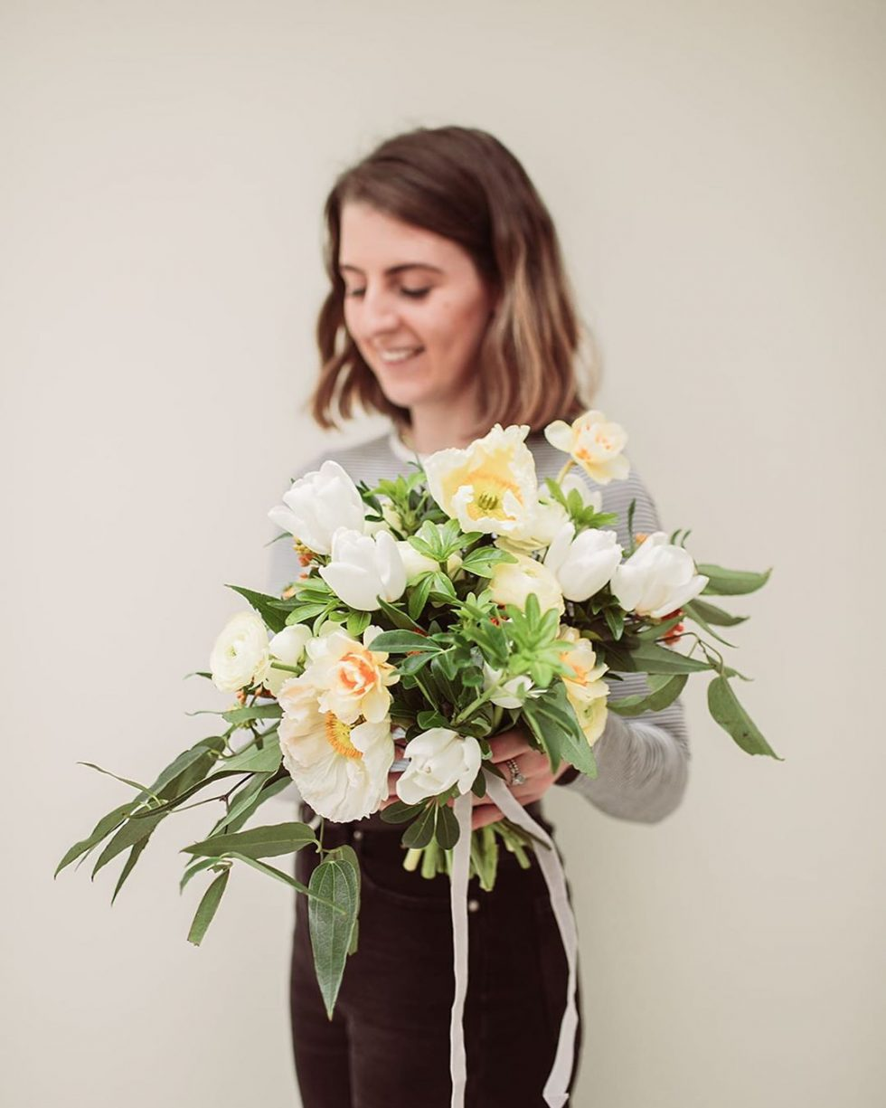 cream coloured big floral bouquet