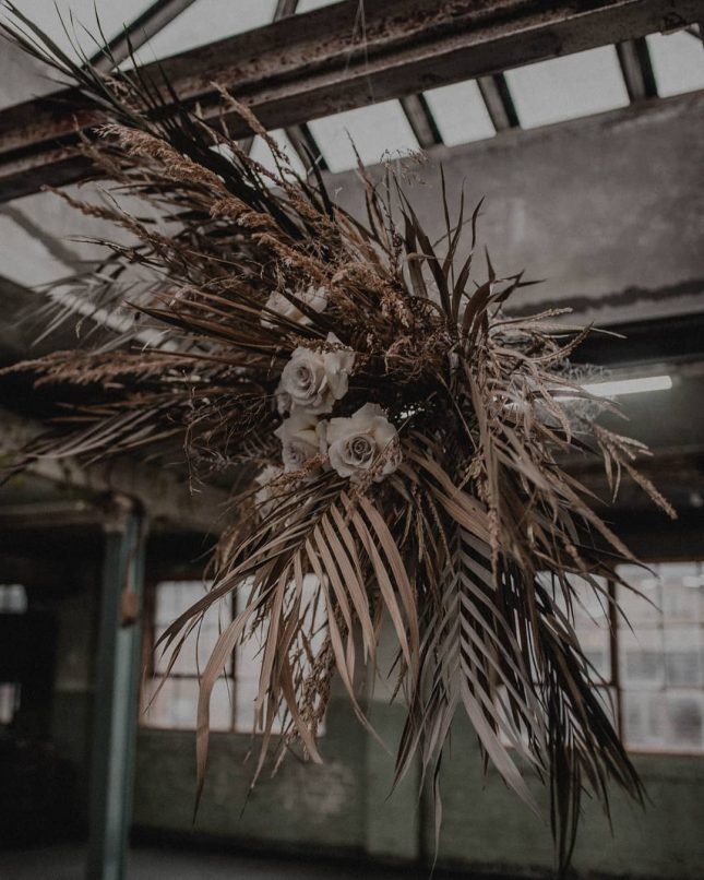 dried fronds and flowers installation