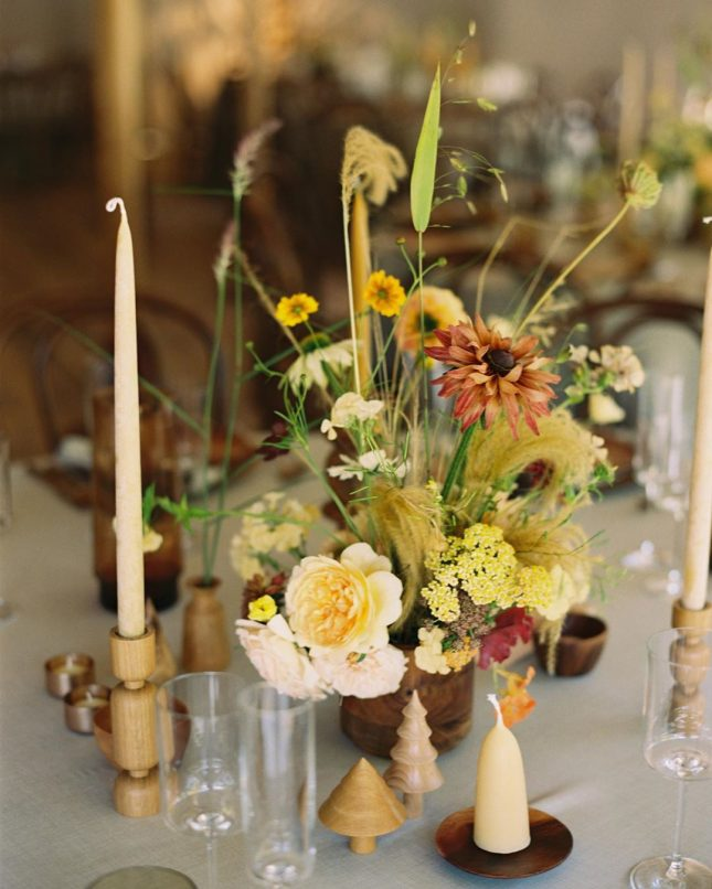 delicate yellow table flowers